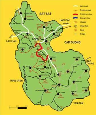 Trekking map to go from Sapa to Ta Van Village